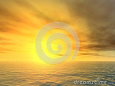 Unforgiving Sunset Over Sea