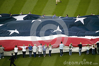 Unfurling of gigantic American Flag Editorial Image