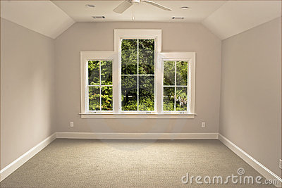 Unfurnished attic room with view