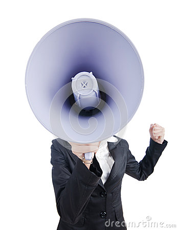 Ung affärslady med högtalare