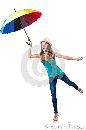 Ung kvinna med paraplyet