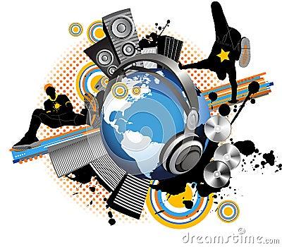 Ungdom för musik för män för stadsdansjordklot