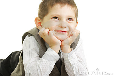 Unge som ser le upp