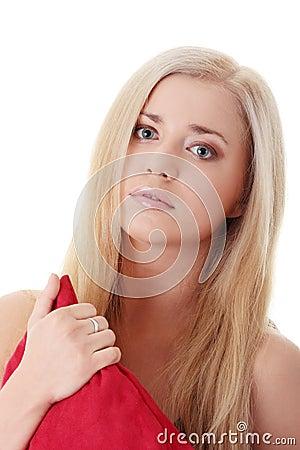Unhappy blond woman