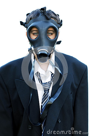 Unhappy Boy in suit and gas mask 1