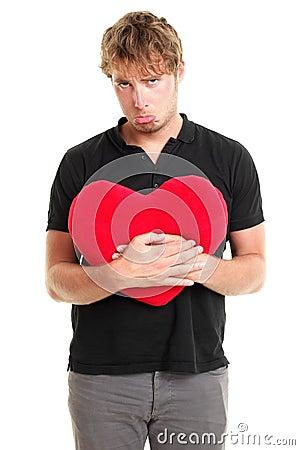 Unhappy broken heart valentines day man