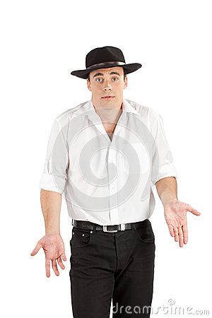 Unhappy businessman in hat gesturing