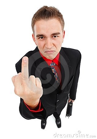 Unhappy businessman showing middle finger