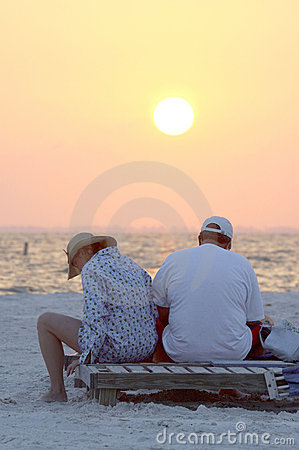 Unhappy couple on beach