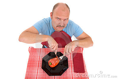 Unhappy dieting man