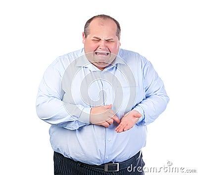 Unhappy Fat Man in a Blue Shirt