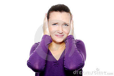 Unhappy female face with negative emotions