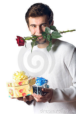 Unhappy man with gifts, rose