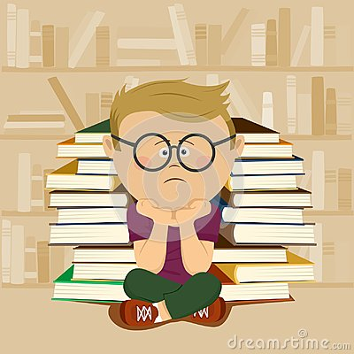 Free Unhappy Nerd Boy Sitting In Front Of Stack Of Books And Bookshelf In School Library Stock Image - 122305781