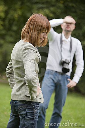 Unhappy photographer and model