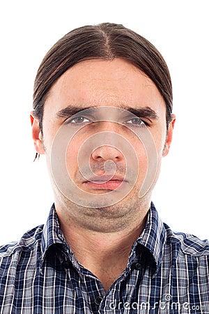 Unhappy sad man face