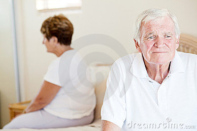 Unhappy senior couple