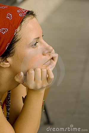 Unhappy woman in red kerchief