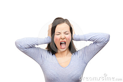 Unhappy woman screaming