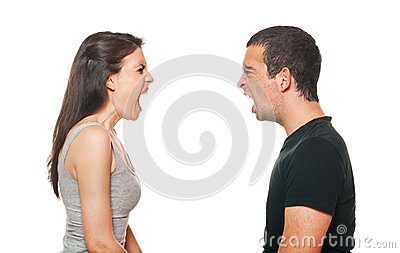 Unhappy young couple having an argument