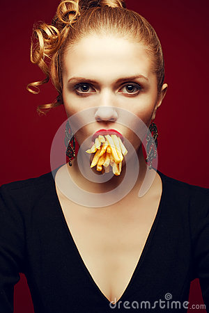 Free Unhealthy Eating. Junk Food Concept. Arty Portrait Of Woman With Fries Stock Photo - 46713880