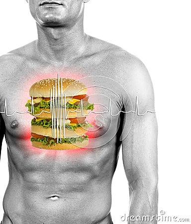 Free Unhealthy Food Reason Of Heart Attacks Royalty Free Stock Photography - 1210707