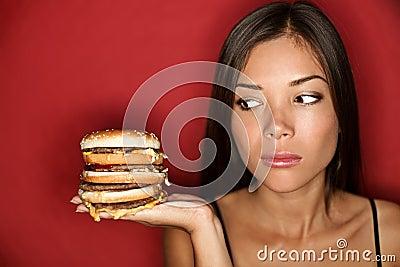 Unhealthy Junk food woman