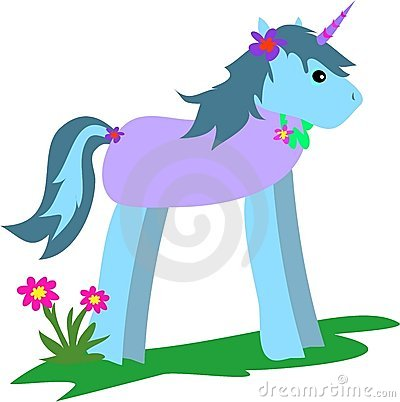 Unicorn Blue with Flowers