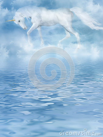 The unicorn in clouds