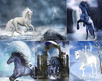 Stock Image: Unicorn collage. Image: 19035321