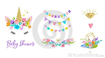 Unicorn head with flowers - card and shirt design Vector Illustration