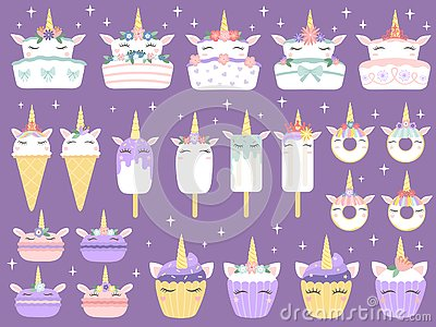 Unicorn desserts. Unicorns macaron, delicious bakery cake funny chocolate cupcake and donut. Rainbow ice cream and Vector Illustration