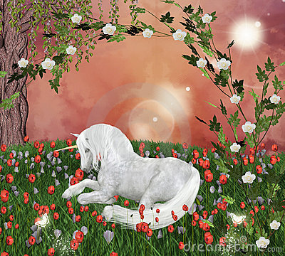 Unicorn in an enchanted meadow