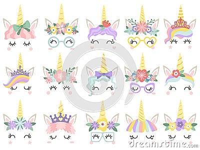Unicorn face. Beautiful pony unicorns faces, magic horn in rainbow flower wreath and cute eyelashes vector illustration Vector Illustration