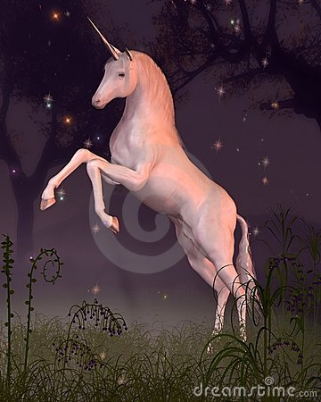 Unicorn in a Forest Glade