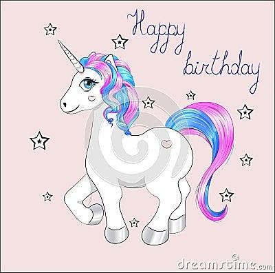Free Unicorn Happy Birthday Card Royalty Free Stock Photos - 144994018