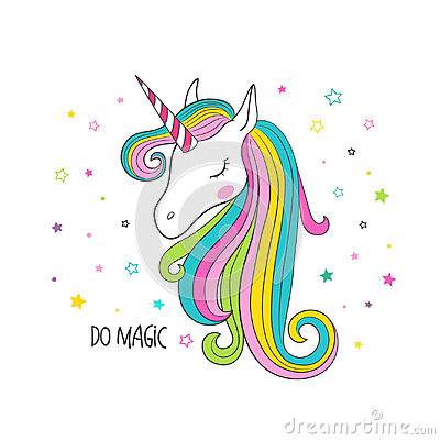 Free Unicorn Head. Vector Illustration For Clothing Stock Images - 95209014