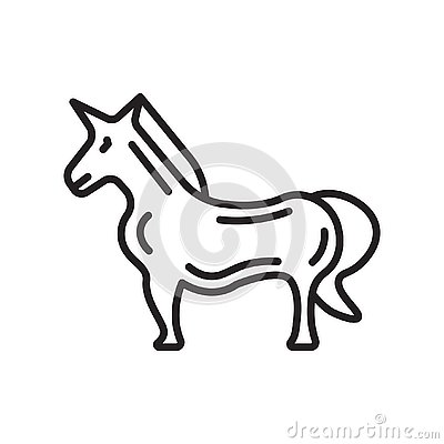 Unicorn icon vector sign and symbol isolated on white background Vector Illustration