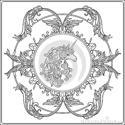 Free Unicorn In The Frame, Arabesque In The Royal, Medieval Style. Ou Royalty Free Stock Image - 100383366