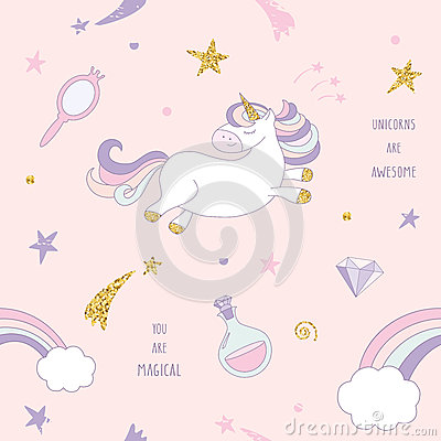 Free Unicorn Magic Seamless Pattern Background With Rainbow, Stars And Diamonds On Pastel Pink. For Print And Web. Royalty Free Stock Photography - 89659347