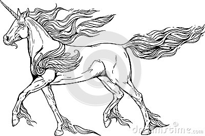 Unicorn with mane and tail of flames of fire. Vector Illustration