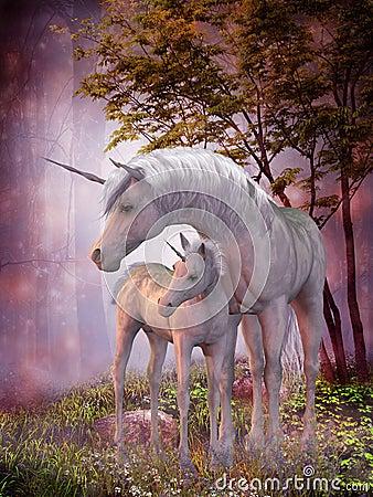 Free Unicorn Mare And Foal Stock Photo - 40611810