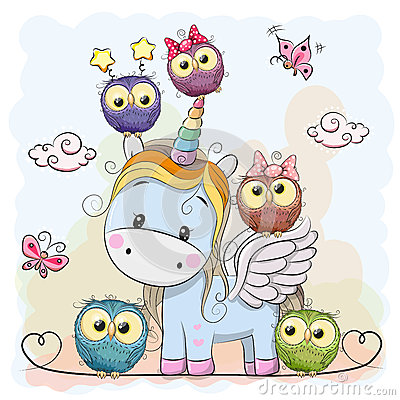 Unicorn and owls Vector Illustration