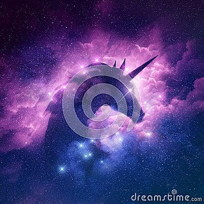Unicorn Nebula Background Cartoon Illustration