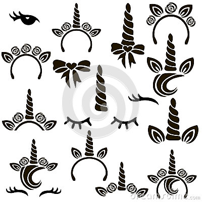 Unicorn symbols set. Stock Photo