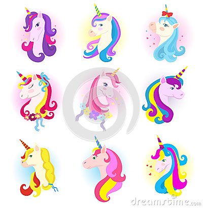 Unicorn vector cartoon horse character with magic horn and rainbow mane in children dreams illustration horsey set of Vector Illustration