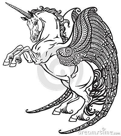 Unicorno alato in bianco e nero illustrazione vettoriale - Unicorno alato pagine da colorare ...