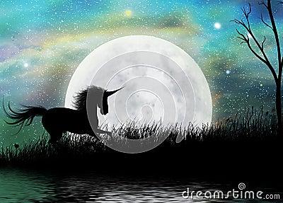 Unicorno e fondo surreale di paesaggio lunare
