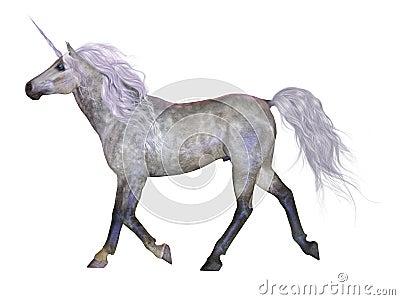 Unicorno su bianco