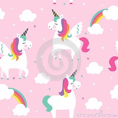 Unicorns with wings, stars and clouds. Cartoon Illustration